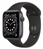 Apple Watch Series 6 40mm GPS Space Gray Aluminum Case with Black Sport Band (MG133) (O_B)