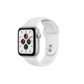 Apple Watch SE 44mm GPS Silver Aluminum Case with White Sport Band (MYDQ2)