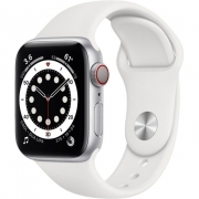 Apple Watch Series 6 GPS + Cellular 40mm Silver Aluminum Case with White Sport Band (M02N3, M06M3)