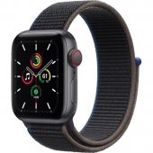 Apple Watch SE GPS + Cellular 40mm Space Gray Aluminum Case with Charcoal Sport Loop (MYEE2 MYEL2)