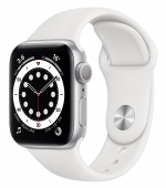 Apple Watch Series 6 40mm GPS Silver Aluminum Case with White Sport Band (MG283) (O_B)