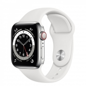 Apple Watch Series 6 GPS + Cellular 40mm Silver Stainless Steel Case with White Sport Band (M06T3 / M02U3)