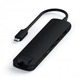 Адаптер Satechi Aluminum Type-C Slim Multi-Port with Ethernet Adapter, Black (ST-UCSMA3K)