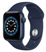Apple Watch Series 6 40mm GPS Blue Aluminum Case with Deep Navy Sport Band (MG143) (O_B)