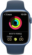 Apple Watch Series 7 45mm Blue Aluminum Case with Abyss Blue Sport Band MG143