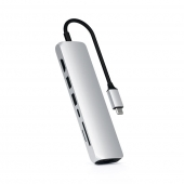 Адаптер Satechi AluminUm Type-C Slim Multi-Port with Ethernet Adapter Silver (ST-UCSMA3S)